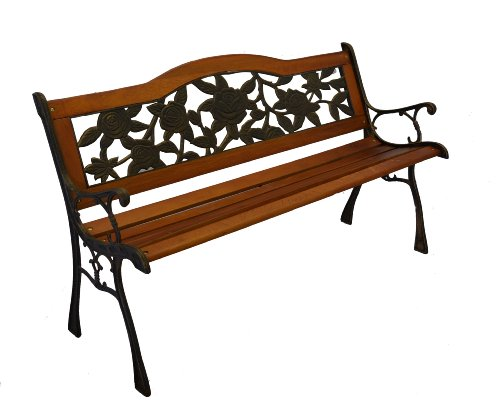 PierSurplus Rose Bloom Cast Iron Park Bench w/Resin Back Insert for Yard or Garden V2 Product SKU: PB20016