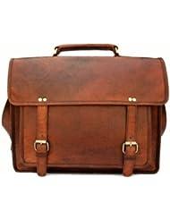 QualityArt 18 Large Leather Messenger Bag Business Bag Portfolio Satchel Travel Satchel 18x13x6