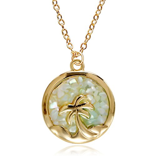 RUXIANG Disc Necklace Coconut Tree in Round Abalone Shell Chip Pendant Jewelry (gold)