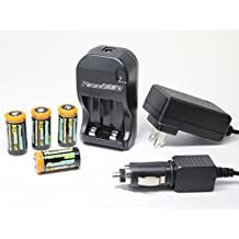 Power2000 CR-123A Rechargeable Batteries (4) and Universal AC/DC Charger Kit
