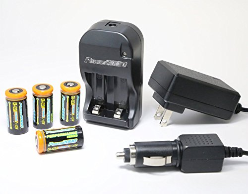 Power2000 XP-123A - (4) CR123A Lithium Rechargeable Batteries & 110/240V Rapid Charger