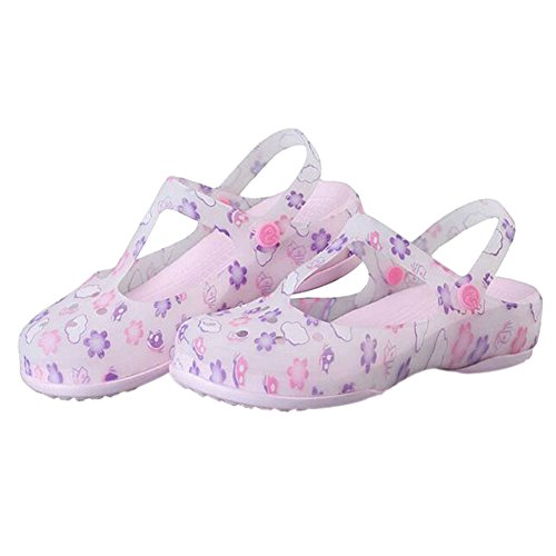 Rainboots Non Shoes Shoes Haodasi Hole Ladies Sandals Summer Boots Pink Rain slip Beach Soft Womens Jelly Printed Shoes Breathable wx7q0T1nX7