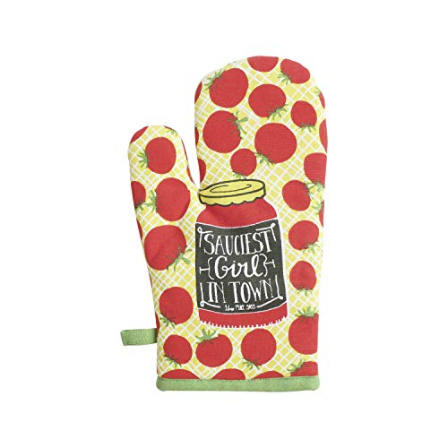 June Clever: Sauciest Girl in Town, Funny Oven Mitt, Boutique Pot Holder, Good Humor Oven Gloves for Entertaining-Yellow/Red -