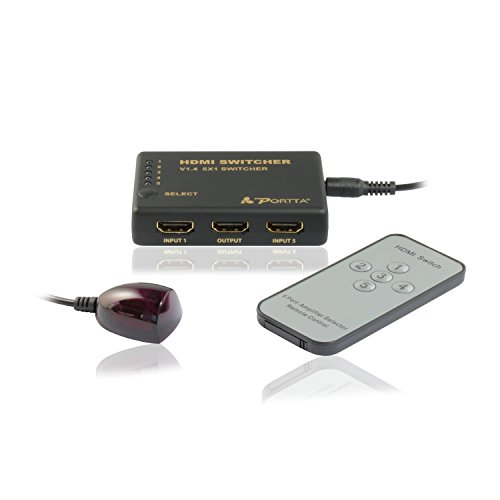 Portta HDMI Switch/Switcher v1.4 5 Port 5x1 with IR Remote Support Full 3D 4k x 2k Without Power Adapter