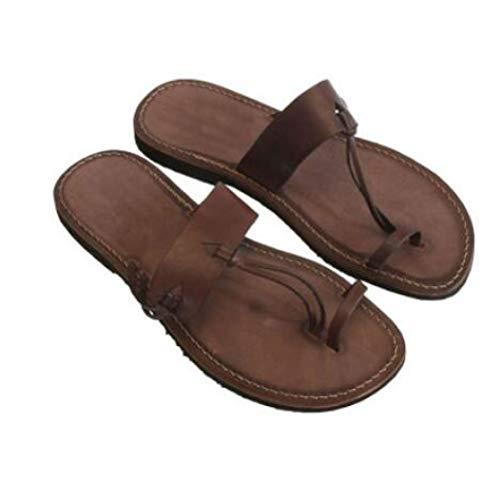 Women's Vintage Flat Flip Flops Slip On Low Heels Thong Nonslip Casual Beach Toe Ring Slide Sandals Brown
