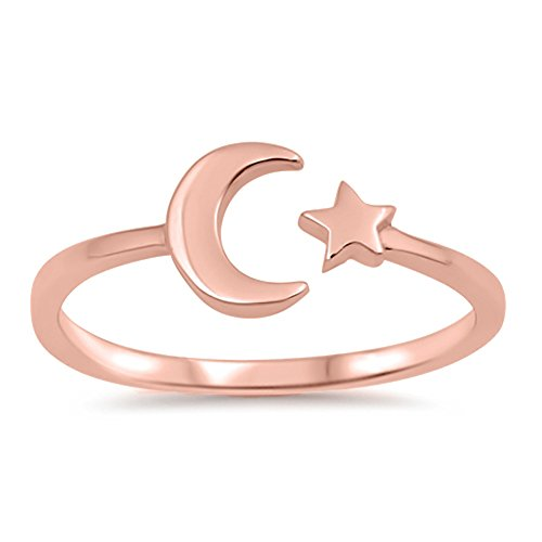 Rose Gold-Tone Moon Star Celestial Ring New .925 Sterling Silver Band Size -
