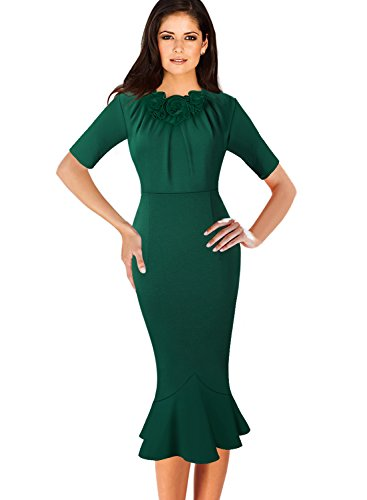 VfEmage Womens Elegant Vintage Cocktail Party Mermaid Midi Mid-Calf Dress 8923 GRN 16 by VfEmage (Image #5)