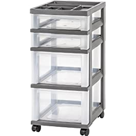 IRIS 4-Drawer Rolling Storage Cart with Organizer ...