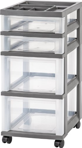 Storage Cart Plastic - IRIS 4-Drawer Rolling Storage Cart with Organizer Top, Gray