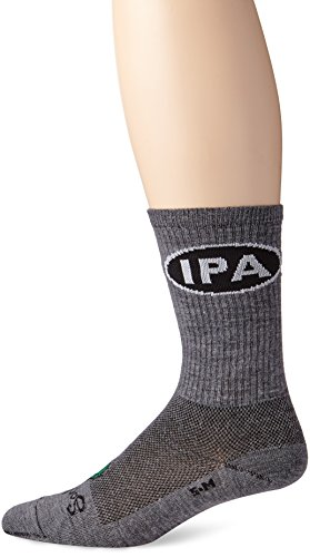 Sock Guy Wool Bike Sock - SockGuy Men's IPA Socks, Gray, Sock Size:10-13/Shoe Size: 6-12