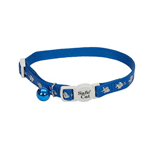 Cat Adj Breakaway Safety Collar - Coastal Pet Products CCP6741FBU Safe Cat Reflective Nylon Adjustable Breakaway Collar with Bells, Fish Blue