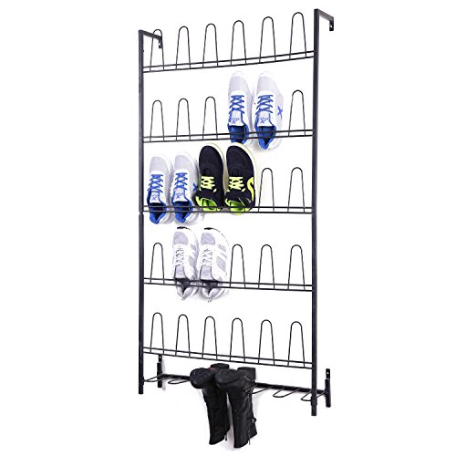 Black Metal Wall Mounted Boots and Shoe Rack, 18 Pair Entryway Shoe Storage Organizer Stand