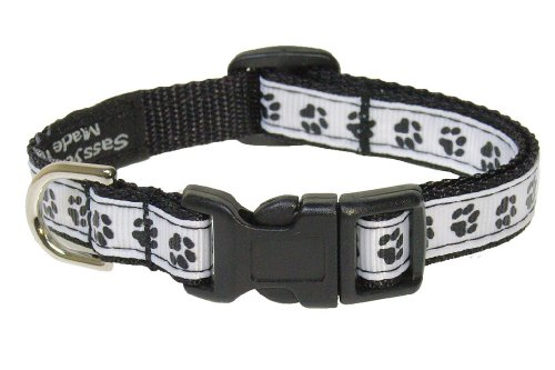 Sassy Dog Wear 6-12-Inch Black/White Puppy Paws Dog Collar, X-Small