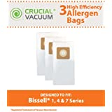 3 Bissell Style 1, 4, & 7 Allergen Vacuum Bags Designed To Fit Bissell Powerforce, PowerGlide, Plus, Lift-Off, Power Trak Series; Compare To Part # 30861 ; Designed & Engineered By Crucial Vacuum