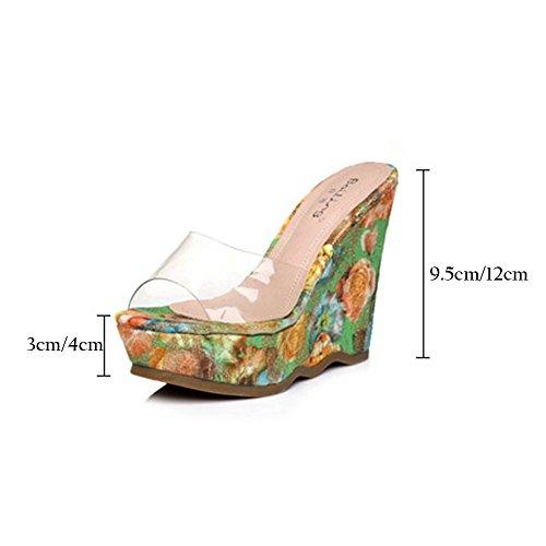 Print Bohemia 9 Bottom Beach Shoes Summer uk5 color Eu38 Floral Slippers 5cm Sandals Heel High Transparent 5 Waterproof Size Thick Wedges Women's Pattern 5cm 9 Platform cn38 Zhirong FTqOwZz