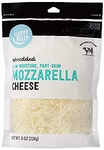 Amazon Brand - Happy Belly Shredded Mozzarella Cheese, Low Moisture Part-Skim Milk, 8 Ounce