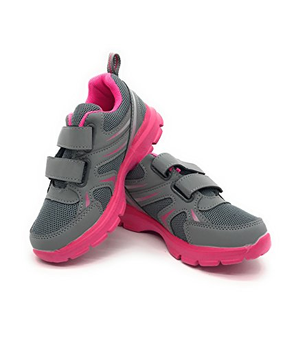 Fuchsia Berry (EASY21 Lightweight Toddle's Sneakers Kid's Cute Casual Sport Shoes Easy-105F,Grey/Fuchsia,6)