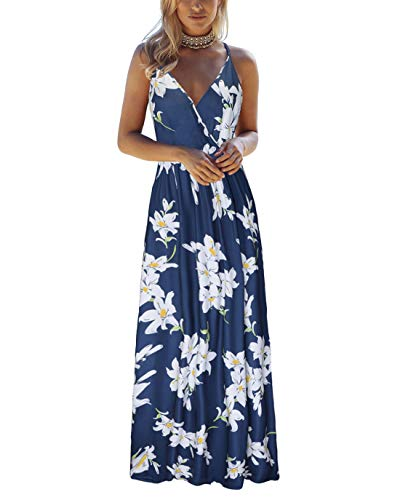 - OUGES Womens Summer Deep V Neck Floral Adjustable Spaghetti Strap Beach Maxi Dress(Floral03,M)