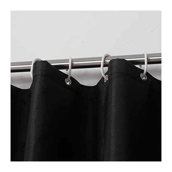 """Avershine Shower Curtain Polyester Fabric Washable (Black 72x80) - The fabric does not fade, perfectly weighted, very durable and easy care, use wet cloth and mild detergent to wipe off the dirt or machine wash directly. 72"""" x 72"""" (180 x 180 cm)/ 72"""" W x 80"""" L( 180W x 200L cm) for multiple choices; 12 Rust Proof Metal Grommets; Package include 1 x shower curtain and 13 x plastic curtain hooks We offer you high quality products with so favorable price and best service . Items can be returned within 31 days of receipt of shipment if you are not satisfied for any reason - shower-curtains, bathroom-linens, bathroom - 41uzFrw2u1L. SS570  -"""