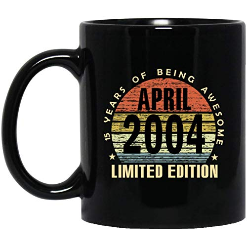 Vintage 15 Years of being awesome April 2004 Limited Edition Mug 15th Birthday Gifts for Men, Women, 11Oz Black Tea cup