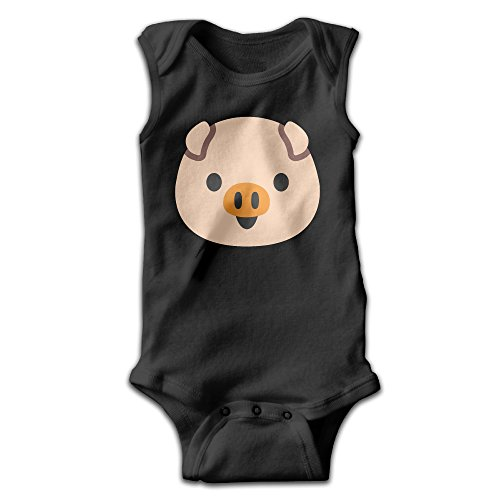 Price comparison product image ONE 2 1 Newborn Babys Boy's & Girl's Pig Face Sleeveless Jumpsuit Outfits For 6-24 Months Black Size 18 Months