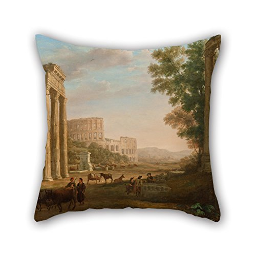 [18 X 18 Inches / 45 By 45 Cm Oil Painting Claude Lorrain - Capriccio With Ruins Of The Roman Forum Throw Pillow Case,both Sides Is Fit For Dance] (Red Crayon Tank Dress Costume)