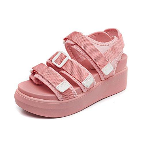 LIXIONG Portátil Sandalias de verano femeninas Magia de fondo grueso zapatos casuales Los deportes cómodos eran zapatos de estudiante delgada -Zapatos de moda ( Color : A , Tamaño : EU34/UK3/CN34 ) A