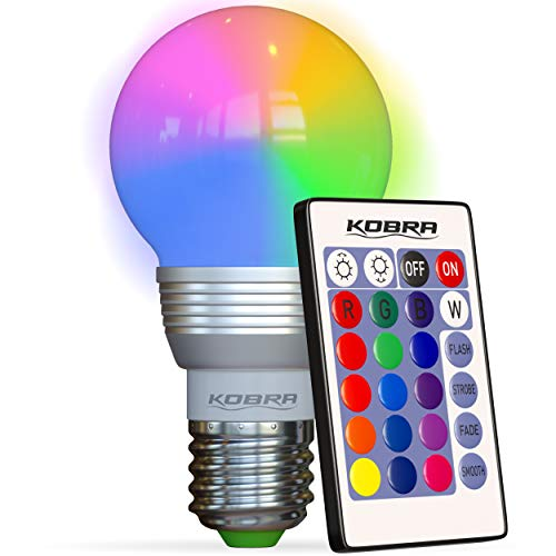 KOBRA Products LED Bulb Color Changing Light Bulb with Remote Control 16 Different Color Choices Smooth, Flash or Strobe…