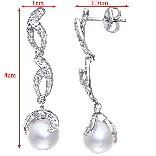 Revoni Bague en or blanc 9carats-serti de diamants-Boucles d'Oreilles Pendantes Femme-Perle