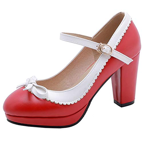 Vitalo Womens Vintage Rockabilly Shoes Mary Jane Chunky High Heels Platform Pumps with Bowtie Size 8.5 B(M) US,1 Red