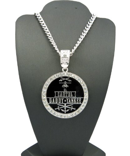 New Iced Out Cartel Daddy Yankee Pendant 36 Cuban Link