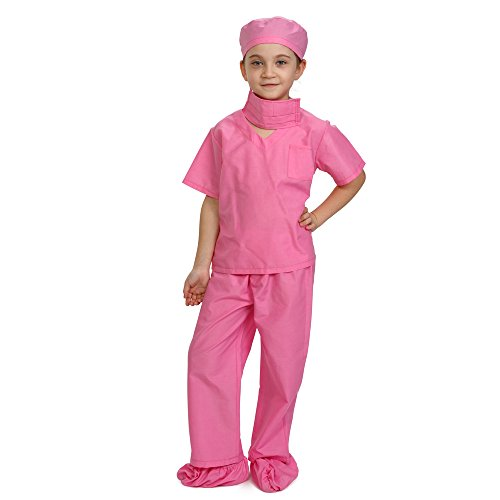 Dress Up America Children Doctor Scrubs Toddler Costume Kids Doctor Scrub's Pretend Play Outfit Blue and Pink (Medium 8-10 (31'' Waist, 47'' Height), Pink)