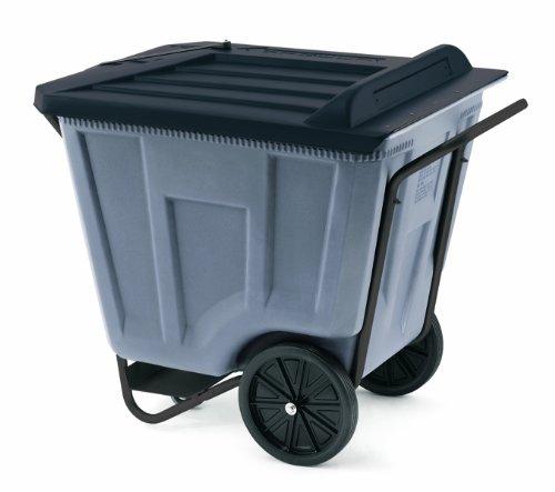 Akro-Mils 76491 30-1/2-Inch W by 47-Inch D by 39-1/2-Inch H 90 Gallon Akro-Cart Medium Duty Plastic Waste Transport Cart with Lid, (Akro Mils Poly Bins)