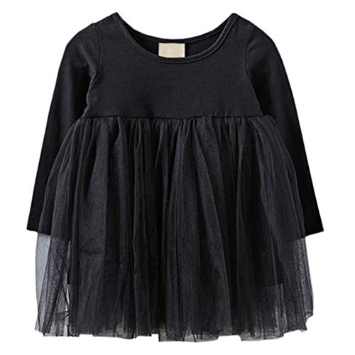 LYXIOF Baby Girls Toddler Tutu Dress Long Sleeve Princess Dress Infant Tulle Dress 2-Black 12 Months]()