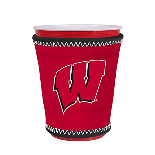 Kolder NCAA Logo Coolie Cup Holder Sleeve Fitting Plastic Cups, Pint Glasses, Coffee Cups, Ice Cream, Etc. - Neoprene and Bottomless (Wisconsin Badgers)]()