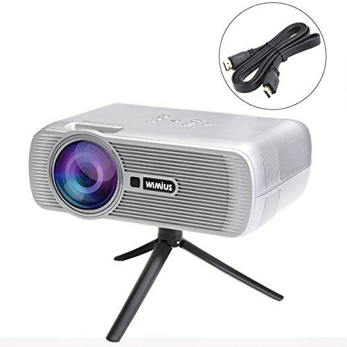 LED Beamer Projektor 1200 Lumen WiMiUS Tragbarer Beamer HD Videoprojektor mit HDMI Kabel Unterstützt AV/ VGA/ USB/ SD/ HDMI/ TV/3.5 Klinkenanschluss für Heimkino Home Cinema Theater (T2 Silber)