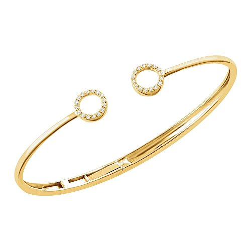 14k Yellow Gold 1/6 CTW Diamond Circle Hinged Cuff 7
