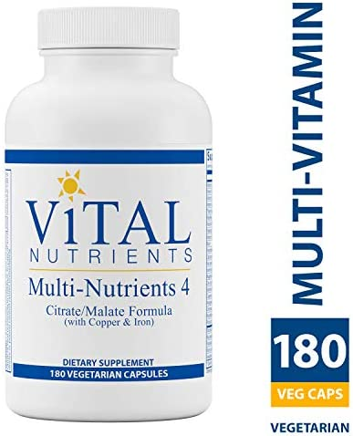 Vital Nutrients – Multi-Nutrients 4 – Citrate Malate Formula with Copper Iron – Multi-Vitamin Mineral Formula With Potent Antioxidants – Bioavailable Form – 180 Vegetarian Capsules per Bottle