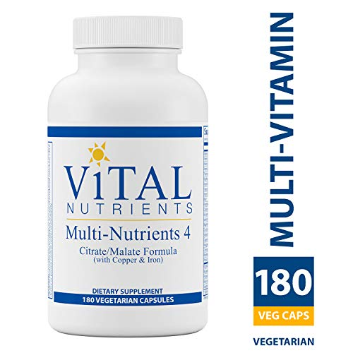 Multi Nutrient System - Vital Nutrients - Multi-Nutrients 4 - Citrate/Malate Formula (with Copper & Iron) - Multi-Vitamin/Mineral Formula With Potent Antioxidants - Bioavailable Form - 180 Vegetarian Capsules per Bottle