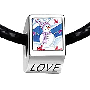 Chicforest Silver Plated Snowman With Birds Photo LOVE Charm Beads Fit Pandora Chamilia Biagi Charm Bracelet