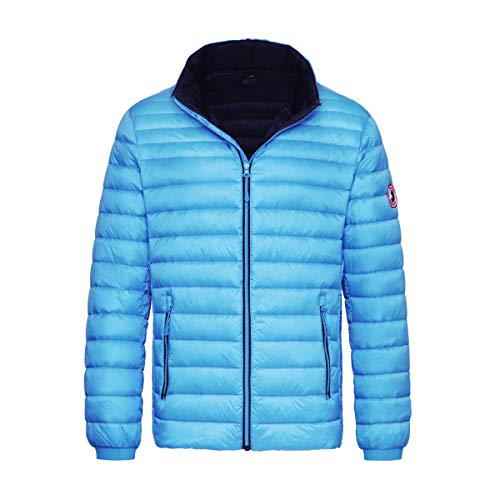 Rokka&Rolla Men's Ultra Lightweight Packable Puffer Down Jacket (S, Malibu Blue)