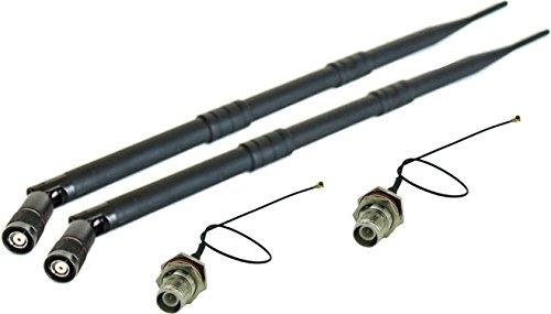 Super Power Supply 2 x 9dBi RP-TNC Dual Band 2.4GHz 5GHz + 2 x 8in / 20cm U.fl / IPEX Cable Antenna Mod Kit No Soldering for Linksys Cisco EA6200 WRT310N WRT320N WRT330N WRT400N WRT610N WRT54GS2
