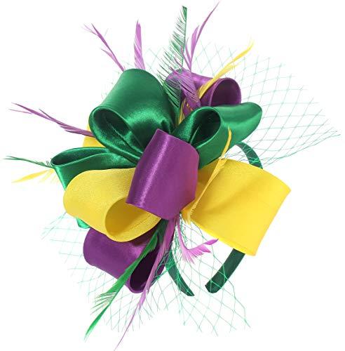 Fascinator for Women Tea Party Feather Mesh Wedding Headband Kentucky Derby Satin Headwear(Mardi Gras)(Purple&Yellow&Green)