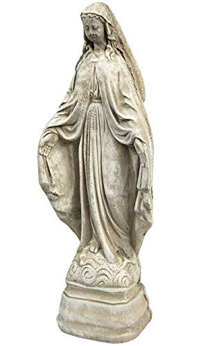 Solid Rock Stoneworks Virgin Mary Stone Garden Statue 18in Tall Marble Tone ()