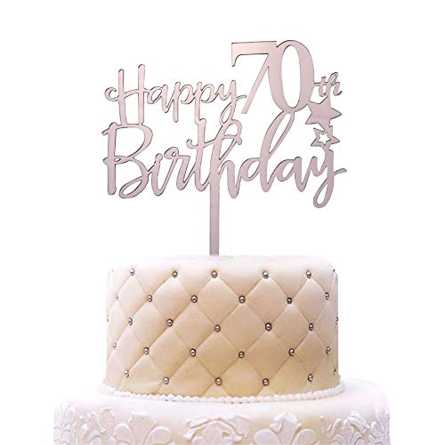 Happy 70th Birthday Acrylic Cake Topper, 70th Anniversary Birthday Party Decorations, Hello 70, Cheers to 70 Years Party, Rose Gold ()
