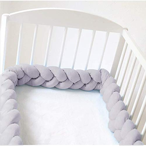 Baby Crib Bumper Knotted Braided Plush 78.7 inch 2m Baby Crib Bumper Knotted Nursery Gift Pillow for Newborns Bed Sleep Bumper (Gray)