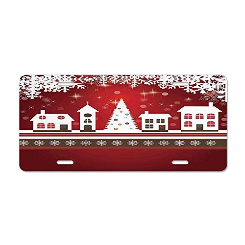 FloralFlames Christmas Decorations,Winter Holidays Theme Gingerbread House Tree Lights and Snowflakes Art,Red White Personalized License Plate Car License Plate Auto Tag Sign 6x12 in]()