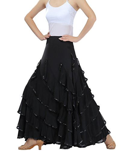 Modern Standard Ballroom Flamenco Dancers Dance Practice Costume Skirts on Stage, Black, One Size -