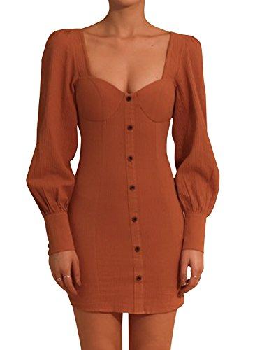 BerryGo Women's Front Button Square Neck Bodycon Dress Long Sleeve Back Zipper Mini Dresses Pumpkin Color,L