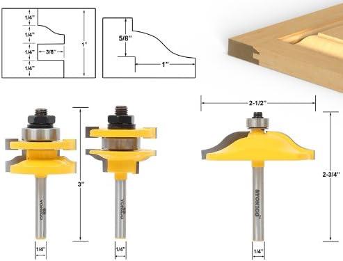 UK 1//4/'/' Shank Ogee Rail /& Stile Raised Cutter Panel Cabinet Door Router Bit Set
